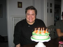 Tom with the birthday cake Christine made for him. (04/01/07)