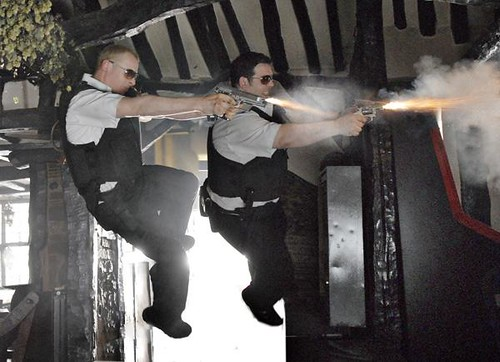 Simon Pegg and Nick Frost shoot it up in 'Hot Fuzz'.