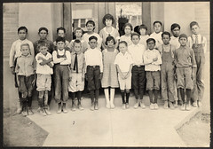 vintage: old class photo with grandpa, 1923 (deflam) Tags: old family girls arizona boys kids vintage children october grandfather grandpa retro teacher western familyphotos classphoto 1923 olden miningtown paulacook globearizona glenngilmer