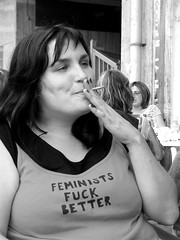 Feminists fuck better (Juska Wendland) Tags: portrait bw woman white black writing work blackwhite spain community fuck maria cigarette smoke tshirt asturias spanish workshop april better feminist 2007 feminists arx poladelena escanda
