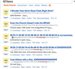 Digg home page, 1 May 2007