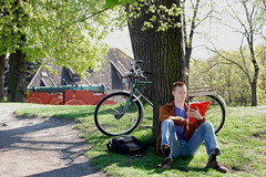 """Man reading at """"Akerhus Festning"""" (benjamalte) Tags: oslo reading noway akerhus"""