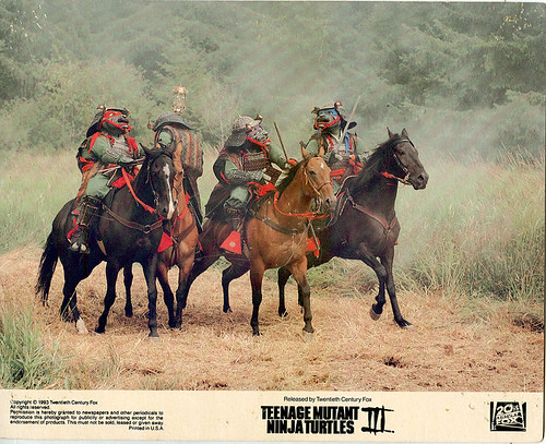 """Teenage Mutant Ninja Turtles III : The Turtles are Back ..in Time"" Lobby Cards (Thailand embossed - 1993) :: Horses of War"