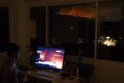 Watching the fire in stereo