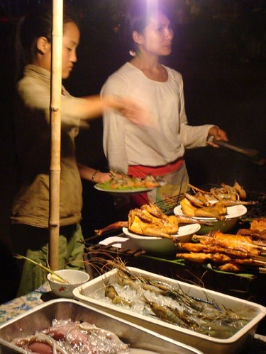 Night food stall at the Mekong River...Vientiane, Laos