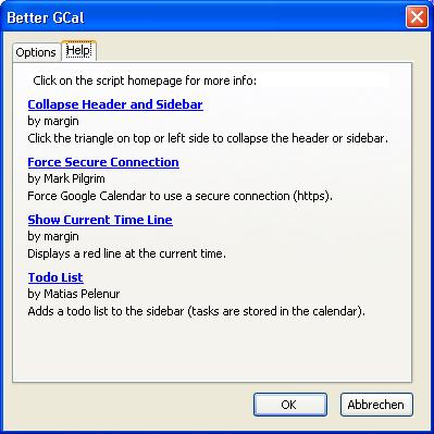 Better GCal - Einstellungen