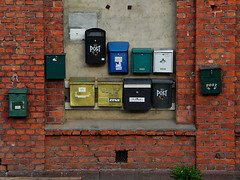 Mailboxes (Rune T) Tags: blue plant green oslo composition gold colorful post many bricks mailboxes balance cracked samebutdifferent abigfave