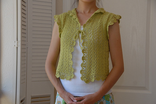 Green Crochet Bolero Modelled