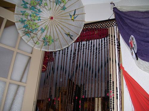 door beads & parasol