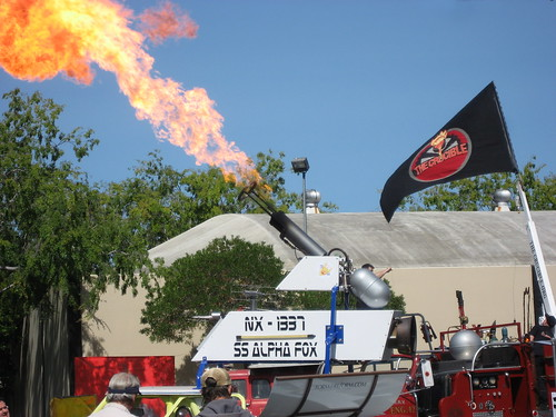 NX-1337 Flame Thrower Art Car in action