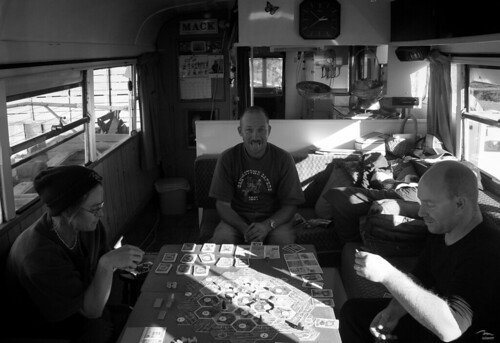 Board-games in the housebus on Sunday afternoon