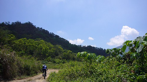 青翠山林藍天白雲