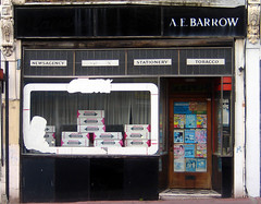 Barrow's Newsagent, Lower Clapton (Fin Fahey) Tags: city uk greatbritain england urban london shop gum geotagged europe unitedkingdom britain eu hackney innercity chewinggum magazines tobacco europeanunion shopfront clapton eastlondon e5 wrigleys newsagents capitalcity innerlondon newsagency northeastlondon chatsworthroad lowerclapton finfahey staionery disusedshop
