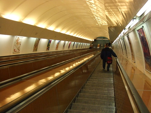 The escalators leading down to the Metro platform at the Námestí Republiky Metro station on Line B.