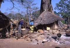 Bedik Village, Southeast Sngal (gbaku) Tags: africa trees houses roof food woman west cooking gourds rock stone architecture work fire town construction women rocks colorful ceramics village basket dress rice african femme cook villages case architectural huts roofs pots mortar gourd clay baskets westafrica vegetation pottery hearth afrika thatch senegal anthropologie shelter fires towns chaff preparation anthropology femmes  containers cases basketry poterie shelters africain afrique ethnography ethnology pestle africaine  mortars westafrican headcloth ethnologie hearths bedick pestles bedik afrikas bedic