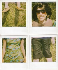 me (Melissa Brown) Tags: sun selfportrait girl smile grass sunglasses self fun polaroid happy utah spring quad explore shorts nonsense jumbled jumble 340 moccasins mishmash recomposition summery photojojo