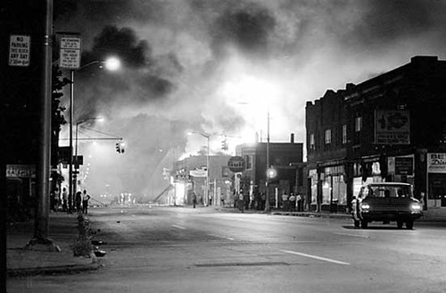 Detroit in flames on 12th Street during the 1967 Rebellion. African-Americans attacked symbols of racism and national oppression during July of that year. People commemorated the 40th anniversary of the uprising four years ago. by Pan-African News Wire File Photos