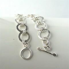 Soldered rings silver bracelet