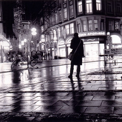 Munich (Peter Gutierrez) Tags: street urban bw white black tlr film public night germany munich square lens bayern bavaria noche photo reflex europe european nocturnal nacht pavement twin sidewalk mat peter german gutierrez medium format munchen schwartz weiss nuit yashica nocturne notte bavarian schwarzes yashicamat weis petergutierrez