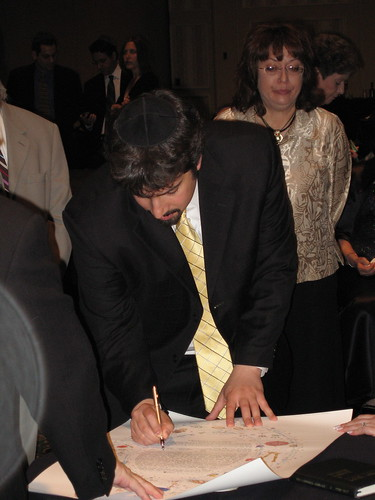 Barry Signing Ketubah @ Gary & Lisa Price's Wedding