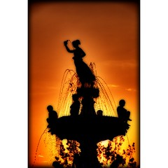 Summer Sunrise - Kids in Fountain (sunsurfr) Tags: orange water fountain silhouette sunrise downtown capital alabama roundabout structure explore montgomery d200 hdr courtsquare nikonstunninggallery anawesomeshot courtsquarefountain sunsurfr