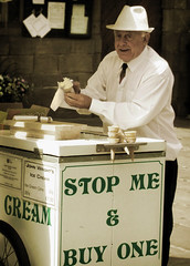 Stop Me & Buy One (Bobshaw) Tags: street man ice vintage durham cream stranger effect beginnerstreetphotography