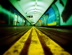 Tube Lines (MSH*) Tags: old signs london lines underground concrete lights tube platform tunnel posters londonunderground euston tfl commended poty dcmag digitalcameramagazine marcbarker photographeroftheyear2009 marcbarkerphotography