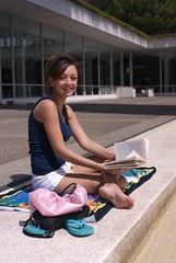 Studying - Fountain (m00by) Tags: woman girl lady portraits reading towel books thongs barefoot flipflops albany why albanyny studying slippers issa uofa jandals greatdanes sunyalbany photoservice sorrycouldntresist universityatalbany sunycampus whowearsshortshorts shewearsshortshorts didyouknowthatinaustrailiaflipflopsarecalled andthatinnewzealandtheyarecalled thosewackyhawaiianscallthem torchpicks anothersocialexperimentintagsnarfing