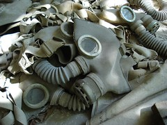 Gas Masks on the floor of Prypiat School (mikestuartwood) Tags: school europe power mask radiation nuclear ukraine gas masks radioactive gasmask powerplant easterneurope nuclearpower chernobyl alienation gasmasks chornobyl prypiat promask prypjat pripjat