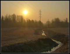 Streams ([ Petri ]) Tags: sun sunlight field creek espoo finland spring haze powerline