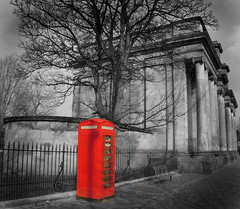 Birkenhead Park entrance with the traditional BT phone box (jimmedia) Tags: park tree green liverpool spring phone with box traditional entrance birkenhead historical bt wirral merseyside