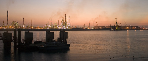 jetty and refinery dawn