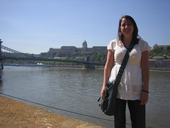 Sheri in front of the Danube