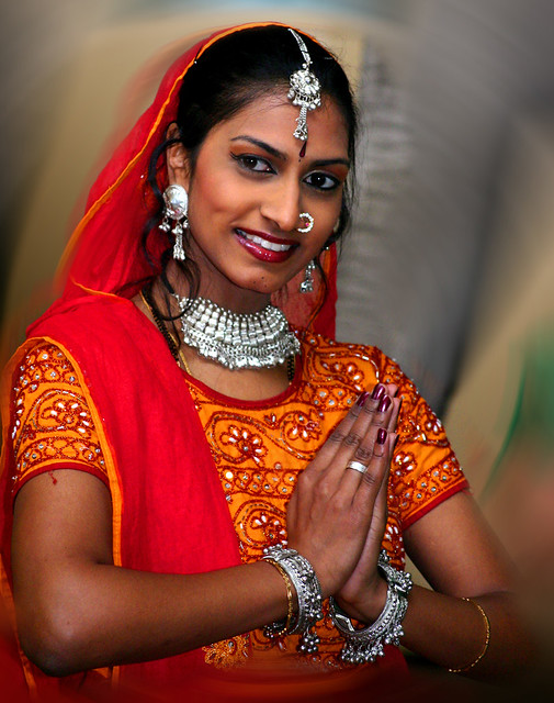 Indian girl in typical Indian costume