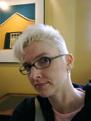 bleach blond pompadour