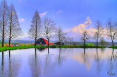 At the foot of Mt. Fuji (HDR) (Maki_C30D) Tags: japan pond hammock  hdr mtfuji oldbarn goldenweek naturesfinest  instantfave idonthavephotoshop  abigfave anawesomeshot colorphotoaward superaplus aplusphoto travelerphotos fumotoppara atthefootofmtfuji thisisnotorton  atthefootofmtkenashi
