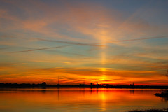 Sun Pillar. (BamaWester) Tags: sunset sky lake reflection water clouds bravo alabama decatur soe sunpillar bamawester outstandingshots napg abigfave goldenphotographer