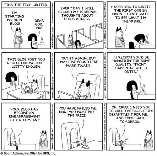 Dilbert's boss starts a blog