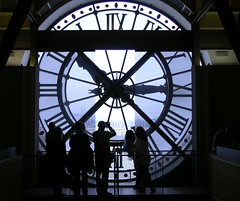 They're just in Time! (leographia) Tags: windows paris france art clock architecture time space surreal circleinasquare quaidorsay quadraturadelcerchio alwaysintime