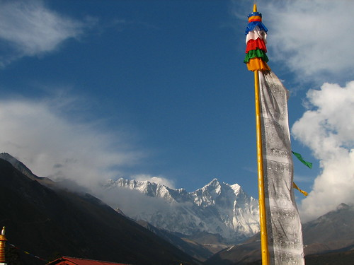 Prayer flag pole with Lhotse and Everest
