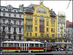 Praha/Prague/Prag-Nove Mesto, Vaclavske nam-Hotel Evropa & Meran (vratsab) Tags: prague prag praha strassenbahn streetcars tramvaje