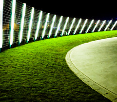 Light Fence (HKmPUA) Tags: nightphotography green grass hongkong nikon nightshots d200 nikkor  kowloon  westkowloon  20mmf28d  20mmf28af  borderingperception focuslegacy