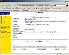 screen capture of book record