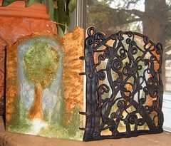 Beyond the Garden Gate-book with polymer clay cover (gabriel studios) Tags: gabriel book clay etsy stamped polymer hanpainted pcagoe gabrielstudios