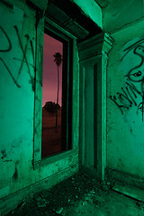 Green Stairwell (Lost America) Tags: lightpainting abandoned night hotel palm fullmoon urbanexploration palmtree urbex byronhotsprings