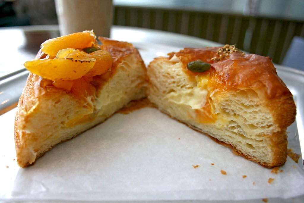 Apricot Elderflower Danish; split in half
