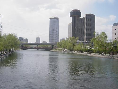Beijing, China: Liang Ma river, behind Kempinksi hotel
