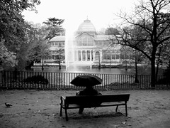 Crystal Palace, Madrid (Phil Yorke) Tags: madrid park bw rain architecture spain retiro crystalpalace humanemotion judgmentday54