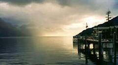 Lake Wakitipu, Queenstown 1 (Trapac) Tags: light newzealand sky lake mountains water sunrise scanned southisland queenstown bfbeforeflickr kodakadvantix explored lakewakitipu