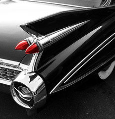 BW- Red Tail Light-Caddy (christopherallisonphotography) Tags: bw white black hot classic car pretty image rod portfolio cadilac bestphotos top20photos chrisallison caharley72 rockabillyboy72 rockabillyboy72hotmailcom httpofed2008blogspotcom imageportfolio christopherallisonphotography httpchristopherallisonphotographyblogspotcom